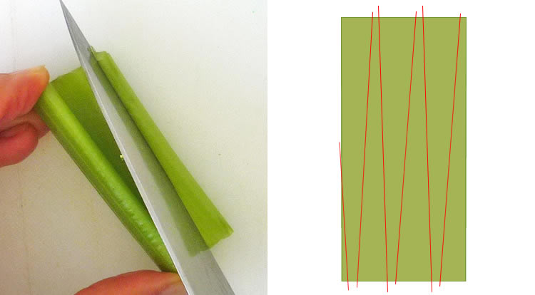 Food art with tomato, cutting celery sticks, celery stalk has the same width on both ends step 1