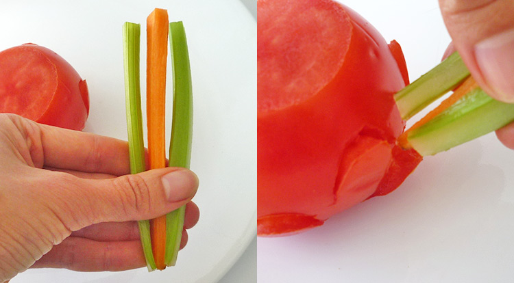 Food art with tomato, inserting vegetable sticks into the tomato saucer base on level one step 1