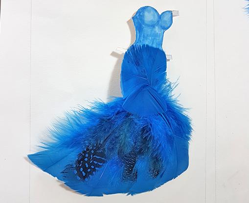 blue feather skirt