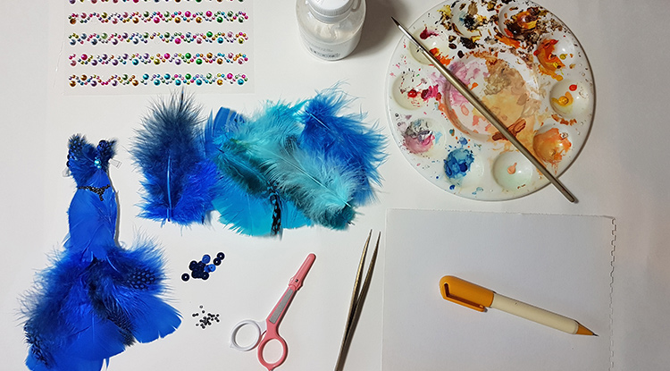 How to make a blue feather party dress-- need