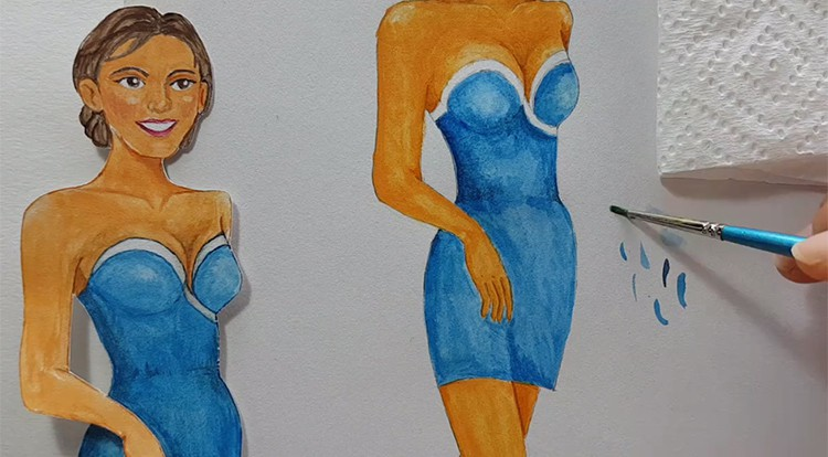 Drawing, Painting and Handcraft art: paint a lady wearing a pink slip dress with watercolor [2/5] -- paint her slip dress