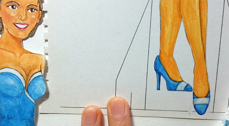 Drawing, Painting and Handcraft art: paint a lady wearing a pink slip dress with watercolor [2/5] -- paint her shoe