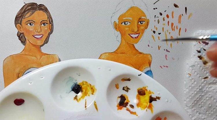 Drawing, Painting and Handcraft art: paint a lady wearing a pink slip dress with watercolor [2/5] -- paint her eyebrows