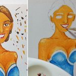 Paint a smiling face and draw cheeks with watercolor [blue 2/5]