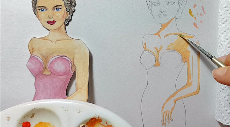 Drawing, Painting and Handcraft art: paint a lady wearing a pink slip dress with watercolour [2/5] -- gradually add a little bit of water to dilute on painting