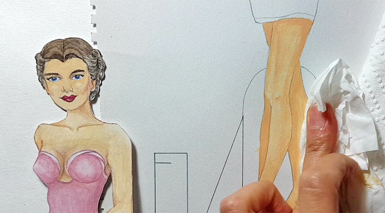 Drawing, Painting and Handcraft art: paint a lady wearing a pink slip dress with watercolour [2/5] -- make highlights with the tissue paper