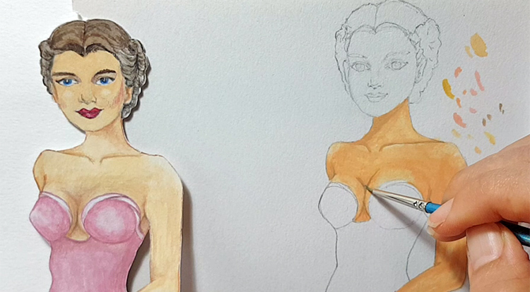 Drawing, Painting and Handcraft art: paint a lady wearing a pink slip dress with watercolour [2/5] -- paint darker color to create shade