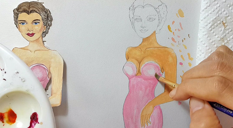 Drawing, Painting and Handcraft art: paint a lady wearing a pink slip dress with watercolour [2/5] -- paint her slip dress