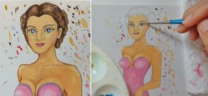 Draw beautiful eyes and two side French twists in hair with watercolor