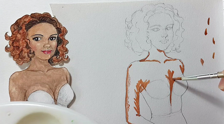 Drawing, Painting and Handcraft art: paint a lady wearing a white slip dress with watercolour [2/5] -- paint skin parts