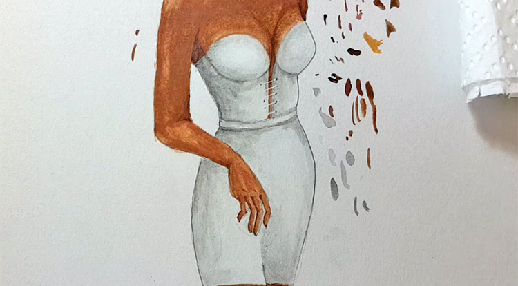 Drawing, Painting and Handcraft art: paint a lady wearing a white slip dress with watercolour [2/5] - draw her string pattern on the front