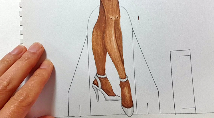 Drawing, Painting and Handcraft art: paint a lady wearing a white slip dress with watercolour [2/5] - paint her shoes