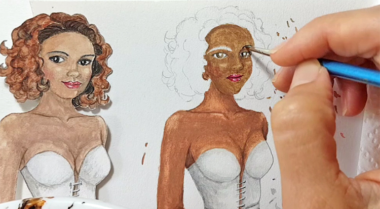 Drawing, Painting and Handcraft art: paint a lady wearing a white slip dress with watercolour [2/5] - paint her eyes, eyelashes and eye brows