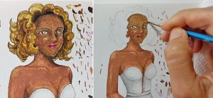 Paint an almond color skin lady with blonde hair in watercolor