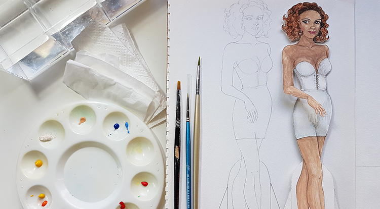 Drawing, Painting and Handcraft art: paint a lady wearing a white slip dress with watercolour- you will need