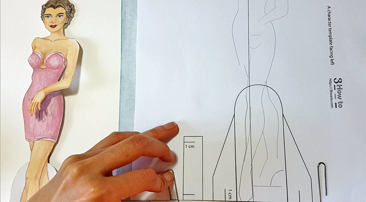 Drawing and painting art with handcraft: draw a lady wearing a pink slip dress 1/5 - align to the character template