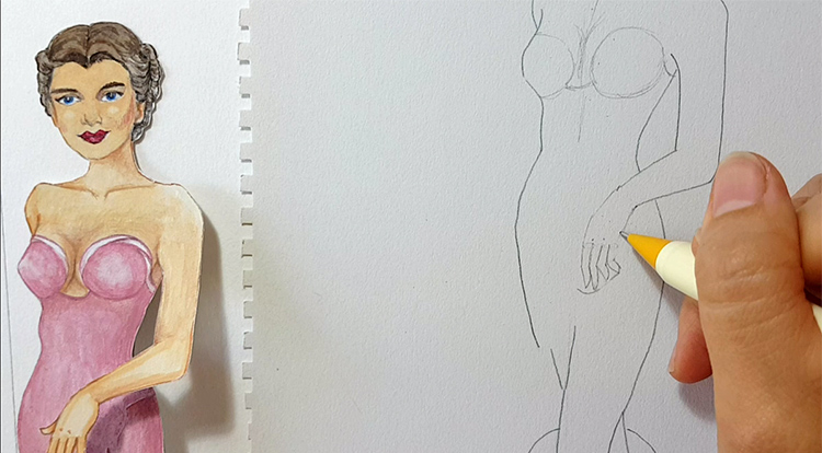 Drawing and painting art with handcraft: draw a lady wearing a pink slip dress 1/5 - draw her hand