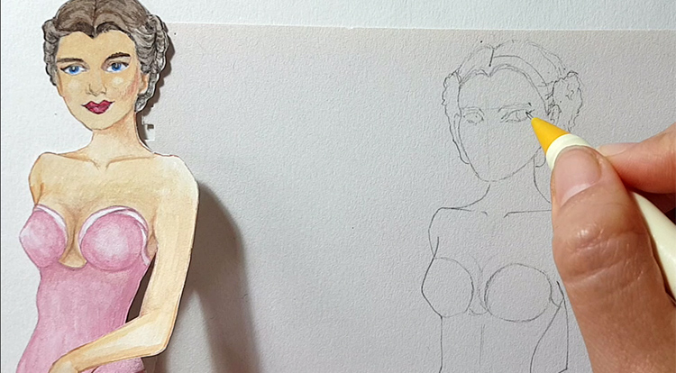 Drawing and painting art with handcraft: draw a lady wearing a pink slip dress 1/5 - draw her face