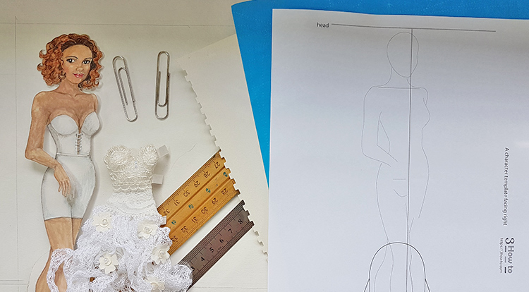 Drawing-and-painting-art-with-handcraft--draw-a-lady-wearing-a-white-slip-dress-1-5