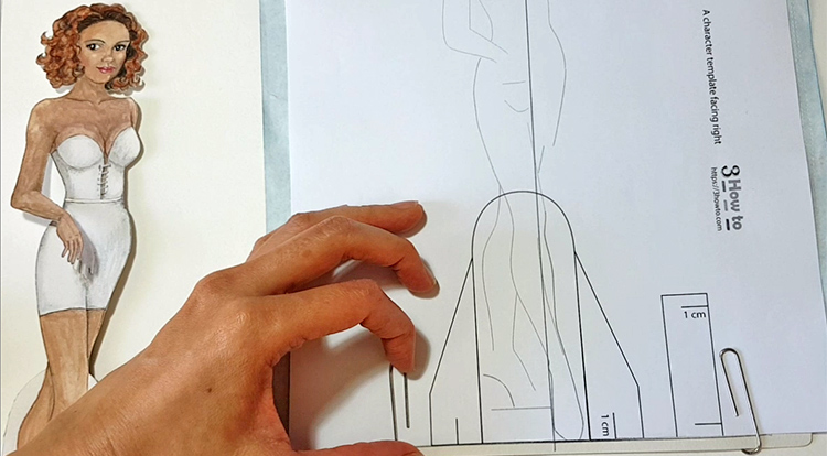 Drawing and painting art with handcraft: draw a lady wearing a white slip dress. Step 2-1 -Make the character template align to the drawing paper with both centre lines