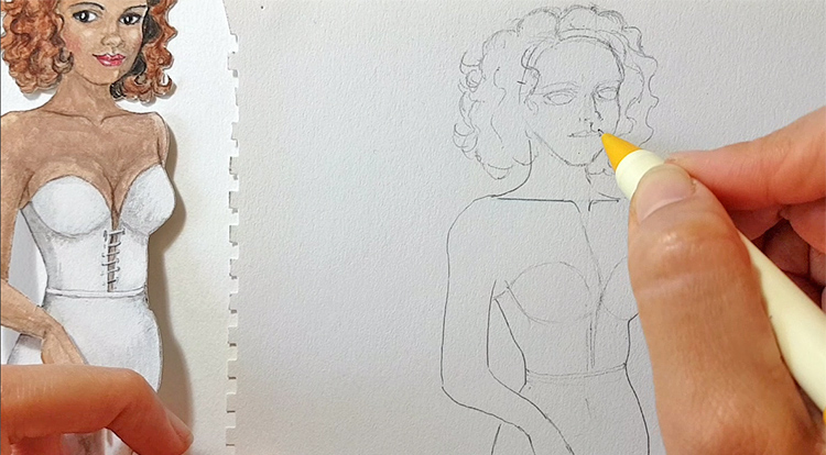 Drawing and painting art with handcraft: draw a lady wearing a white slip dress. Step 3 draw her face