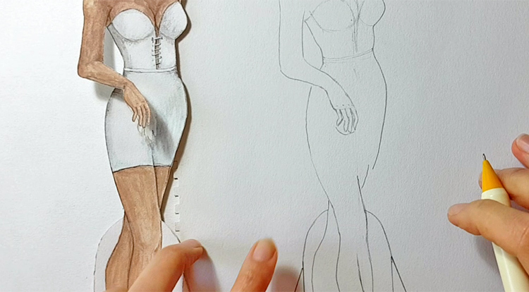Drawing and painting art with handcraft: draw a lady wearing a white slip dress. Step 3 - draw her hand