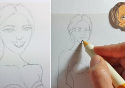 Draw a lady with smiling face [blue 1/5]
