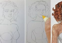 Draw a lady with curly hair