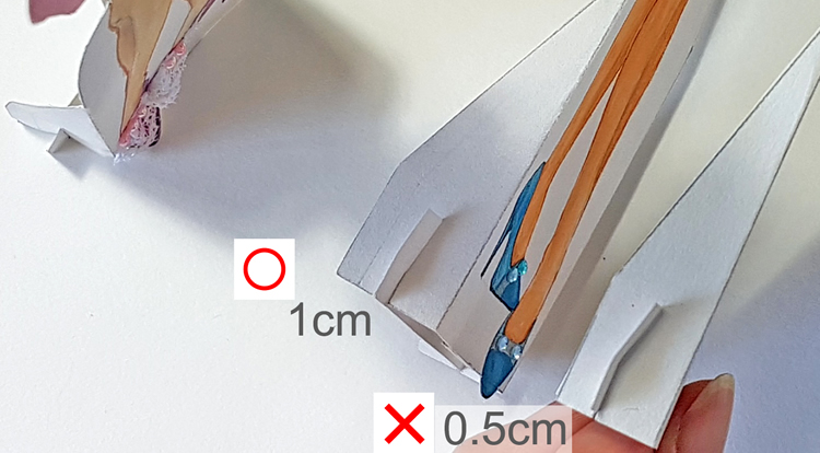 How to make a standing paper doll - Standing board both wings at the corner ends should have a certain width before the slot