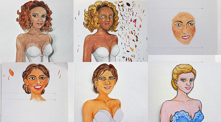 Drawing, Painting and Handcraft art: paint a lady wearing a white slip dress with watercolour [2/5] -- test drawing faces