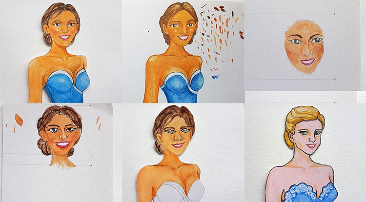 Drawing, Painting and Handcraft art: paint a lady wearing a blue slip dress with watercolour [2/5] -- test drawing faces