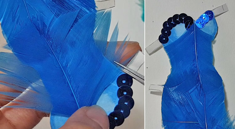 Decorate the top edge with some blue sequins