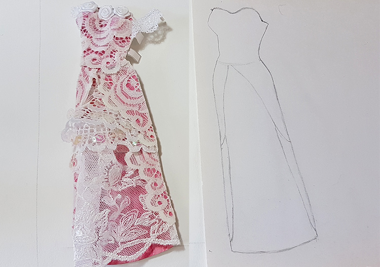 How to make a princess style dress with three layers - Step 1: Design first layer