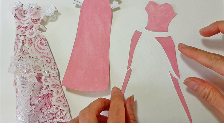 How to make a princess style dress with three layers - Step 1:  prepare five patches from the first layer