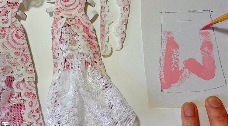 How to make a princess style dress with three layers -- Step 4: Create the third layer paper patch