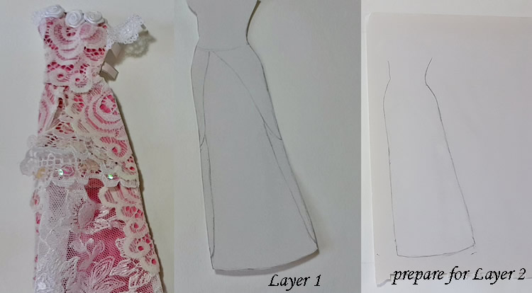 How to make a princess style dress with three layers - Step 1: prepare for layer 2
