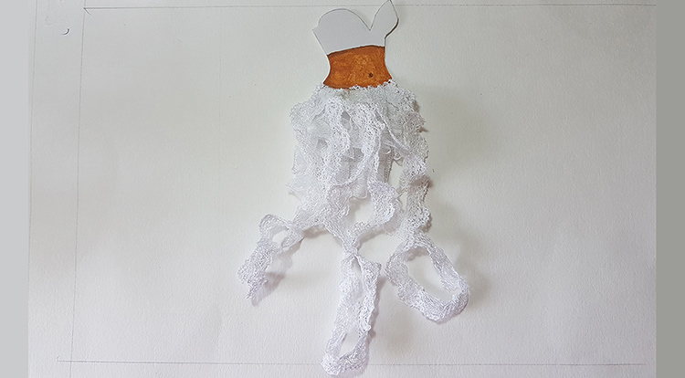 How to handcraft a floral lace dress -- Step 2