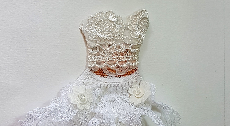 How to handcraft a floral lace dress -- Step 3 Wrap top patch with floral lace